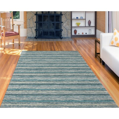 """Hand-Tufted Perry Teal Striped Blended New Zealand Wool Rug (7'6 x 9'6) - 7'6"""" x 9'6"""""""