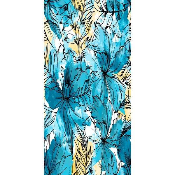 30 x 60 Inch Zentangle Floral Print Bath Towel