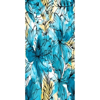 28 X 58 Inch Zentangle Floral Print Bath Towel