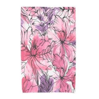 30 X 60 Inch Zentangle Floral Print Beach Towel (Option: Purple)