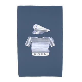 30 x 60 Inch Captain Shirt Geometric Print Beach Towel