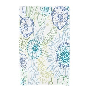 30 X 60 Inch Zentangle 4 Color Floral Print Beach Towel