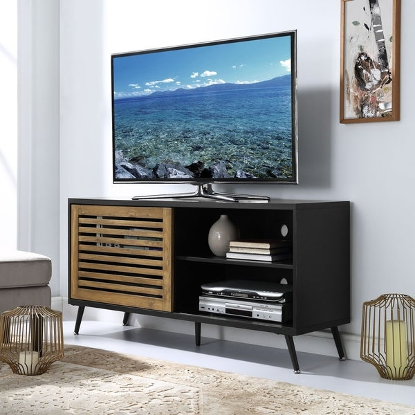 shop 52 sliding door tv stand console 52 x 16 x 26h free shipping today. Black Bedroom Furniture Sets. Home Design Ideas