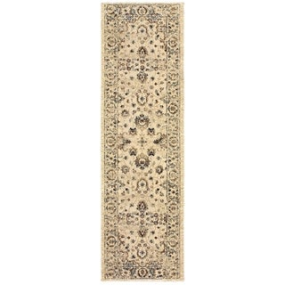 """Arabesque Traditions Ivory/ Gold Area Rug (2'3 X 7'6) - 2'3"""" x 7'6"""" Runner"""