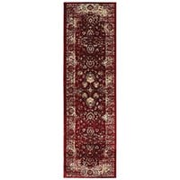 "Arabesque Traditions Red/ Ivory Area Rug (2'3 X 7'6) - 2'3"" x 7'6"""