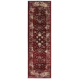 Arabesque Traditions Red/ Ivory Area Rug - 2'3 X 7'6