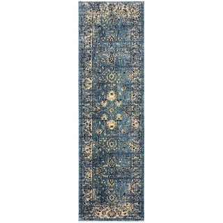 Arabesque Traditions Blue/ Ivory Area Rug - 2'3 x 7'6
