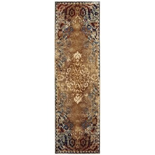 Distressed Floral Medallion Gold/ Red Area Rug - 2'3 x 7'6