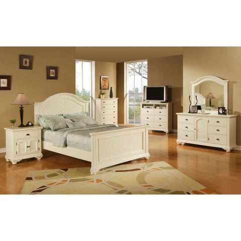 Cambridge Hyde Park 5 Piece Bedroom Suite in White with King Bed, Dresser, Mirror, Chest, Nightstand