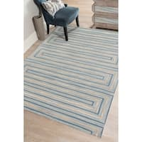 "Hand-Tufted Willow Light Blue Blended New Zealand Wool Rug - 7'6"" x 9'6"""