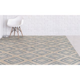 Willow Collection Contemporary Trellis Hand-tufted Grey Blended New Zealand Wool/Art Silk Rug (5' x 8')
