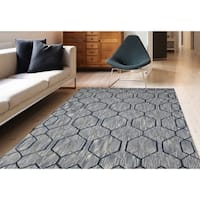 """Hand-Tufted Willow Silver Gray Blended New Zealand Wool Rug - 7'6"""" x 9'6"""""""