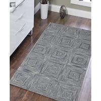 Hand-Tufted Willow Steel Blue Blended New Zealand Wool Rug - 8' x 11'