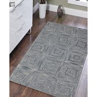 """Hand-Tufted Willow Steel Blue Blended New Zealand Wool Rug - 7'6"""" x 9'6"""""""