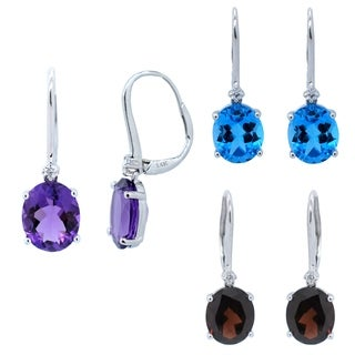 Kabella 14k White Gold Birthstone Dangling Diamonds Leverback Earring (3 options available)