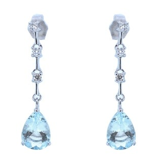 Kabella 14k White Gold Pear Shape Aquamarine & Diamonds Dangling Earring - LIGHT BLUE