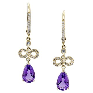Kabella 14k Yellow Gold Birthstone Gemstone Dangling Diamonds Leverback Earring