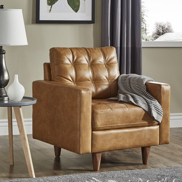 Shop Odin Caramel Leather Gel Accent Chair By Inspire Q