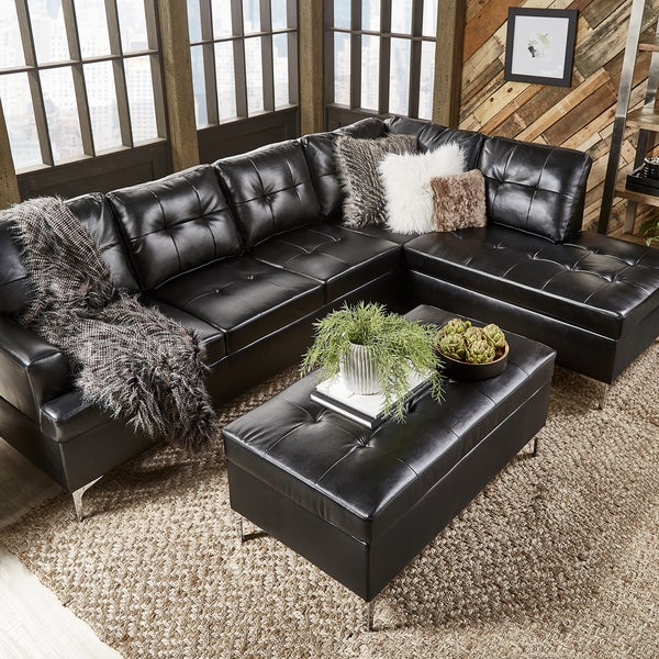Shop Bonnie Tufted Faux Leather Sofa Sectional with Chaise by ...