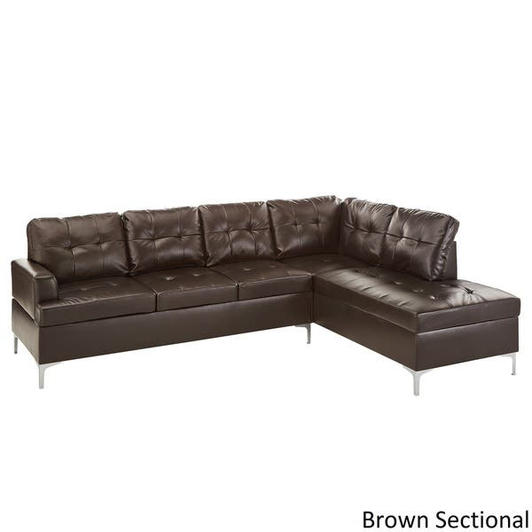 Fabulous Shop Bonnie Tufted Faux Leather Sofa Sectional With Chaise Uwap Interior Chair Design Uwaporg