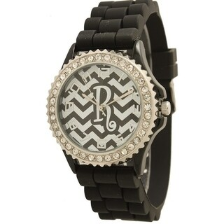Olivia Pratt Women's Monogram Chevron Silicone Watch With Rhinestones