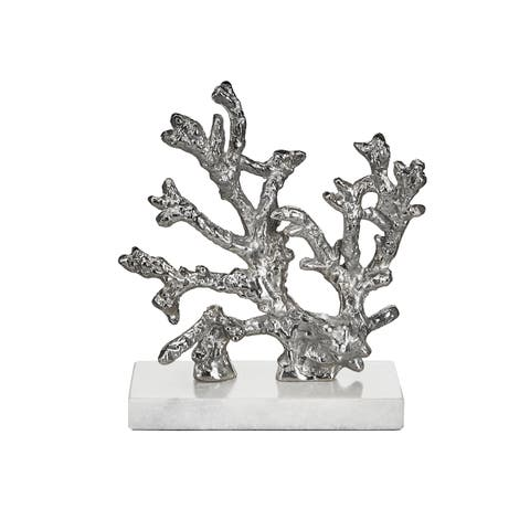 Coral branch silver sculpture