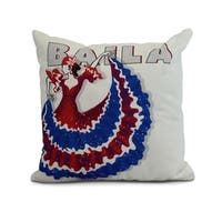 18 x 18 Inch Cuban Dancer Baila Word Print Pillow