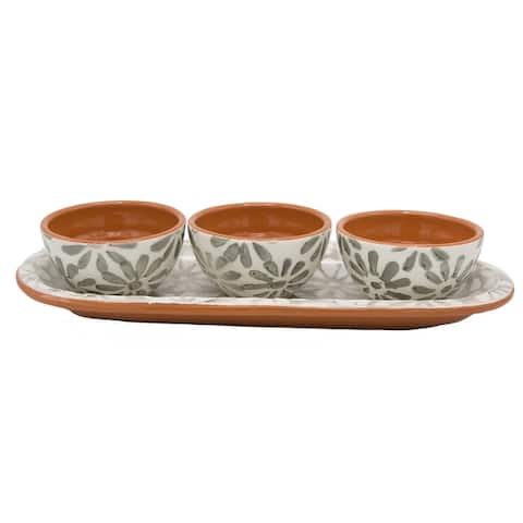 Euro Ceramica Margarida Snack Tray with Set of 3 Dipping Bowls
