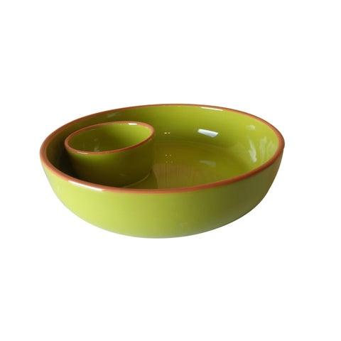 Euro Ceramica Pescador Green Chip and Dip Platter