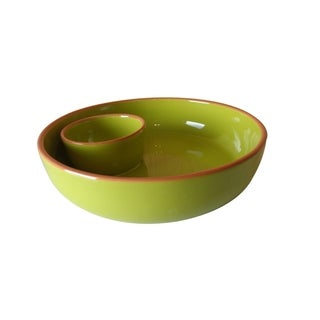 Euro Ceramica Pescador Green Chip and Dip Platter