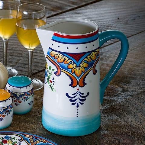 Euro Ceramica Zanzibar 2.5 L Floral Water Pitcher