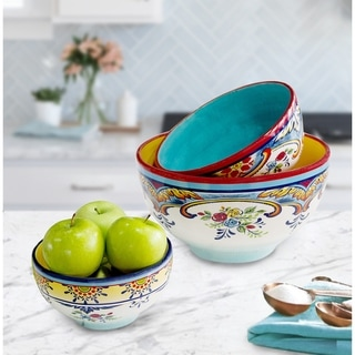 Euro Ceramica Zanzibar 3-Piece Decorative Mixing Bowl Set