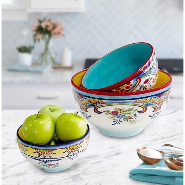 Euro Ceramica Zanzibar 3-Piece Decorative Mixing Bowl Set. Opens flyout.