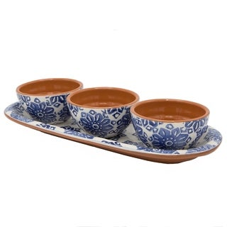 Euro Ceramica Azul Tile Snack Tray with Set of 3 Dipping Bowls