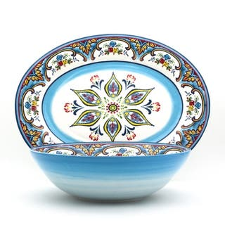 Euro Ceramica Zanzibar 2-piece Serving Set, Platter and Bowl