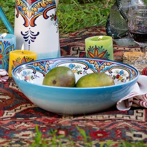 "Euro Ceramica Zanzibar 12.75"" Floral Serving Bowl"