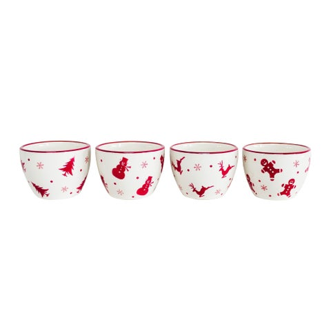 Euro Ceramica Winterfest 4 Piece Dipping Bowl Set