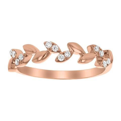 10k Rose Gold 1/8ct TDW Diamond Marquise Leaf Vine Wedding Band - White H-I