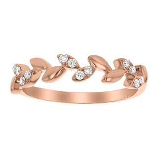 10k Rose Gold 1/8ct TDW Diamond Leaf Band by Beverly Hills Charm