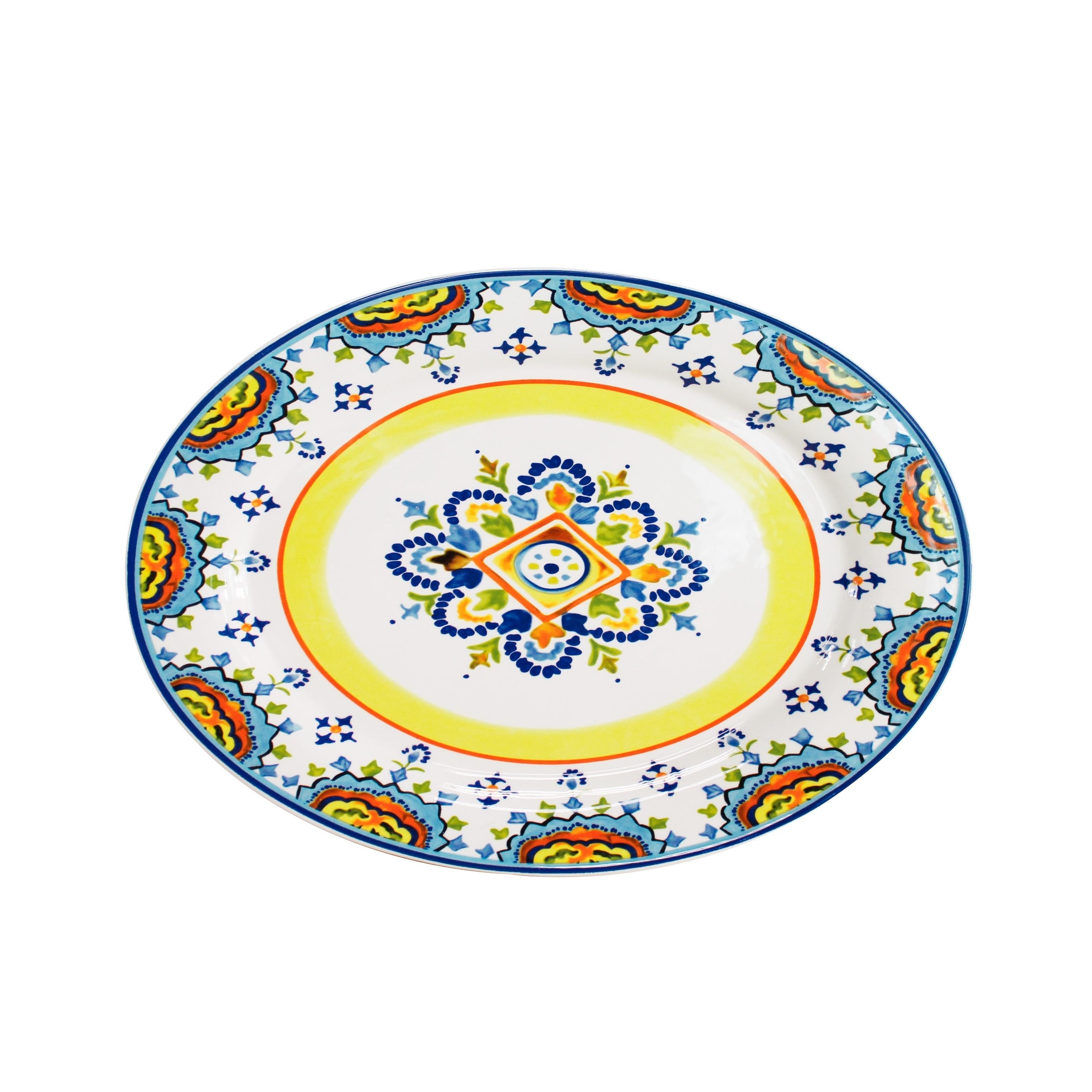 Euro Ceramica Mumbai 16.75-inch Oval Platter (Multi - Ser...
