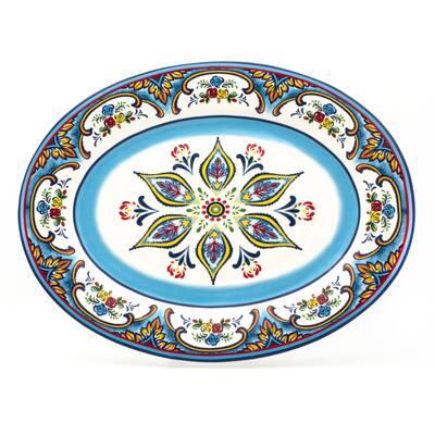 Euro Ceramica Zanzibar 18-inch Floral Oval Platter