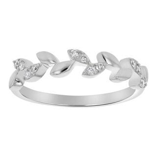 10k White Gold 1/8ct TDW Diamond Marquise Leaf Vine Wedding Band - White H-I