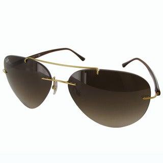 Ray-Ban Titanium Pilot RB8058 Mens Gold Frame Brown Gradient Lens Sunglasses