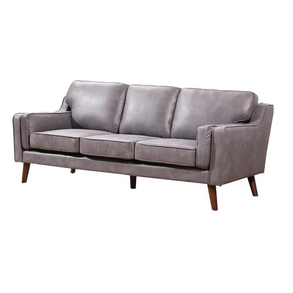 Shop Carson Carrington Solbjerg Mid-century Air Leather Fabric Sofa ...