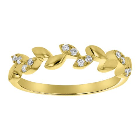 10k Yellow Gold 1/8ct TDW Diamond Vine Leafs Band Ring by Beverly Hills Charm - White H-I - White H-I
