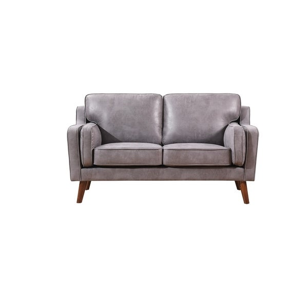 Carson Carrington Solbjerg Mid-century Air Leather Fabric Loveseat