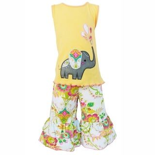 AnnLoren Girls Boutique Yellow Elephant Floral Tank and Capri Outfit