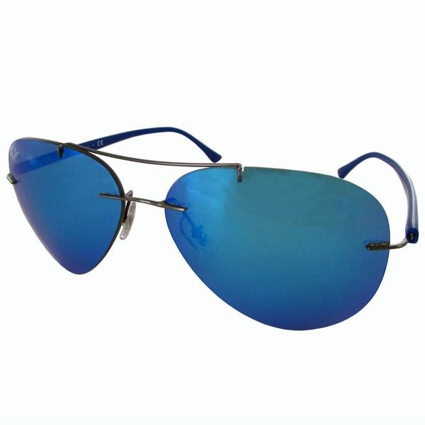 a1a0d55976 Ray-Ban Titanium Pilot RB8058 Mens Gunmetal Frame Blue Mirror Lens  Sunglasses. Click to Zoom