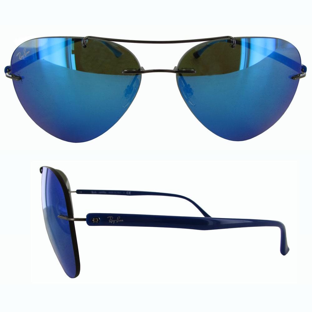 e20b55eae Shop Ray-Ban Titanium Pilot RB8058 Mens Gunmetal Frame Blue Mirror Lens  Sunglasses - Free Shipping Today - Overstock - 19684989