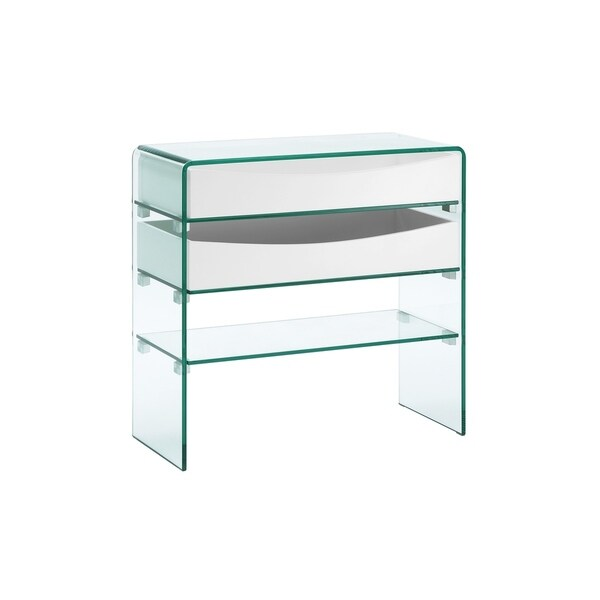 Ibiza High Gloss White Lacquer W Gl Console Table By Casabianca Home